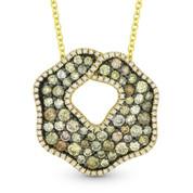 1.63ct Fancy & White Diamond Pave Pendant & Chain in 2-Tone 14k Yellow & Black Gold - AM-DN3666