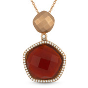 8.07ct Red Agate & Diamond Halo Pendant & Chain Necklace in 14k Rose Gold - AM-DN4099