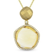 8.31ct Citrine & Diamond Halo Pendant & Chain Necklace in 14k Yellow Gold - AM-DN4101