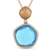 11.12ct Blue Topaz & Diamond Halo Pendant & Chain Necklace in 14k Rose Gold - AM-DN4102