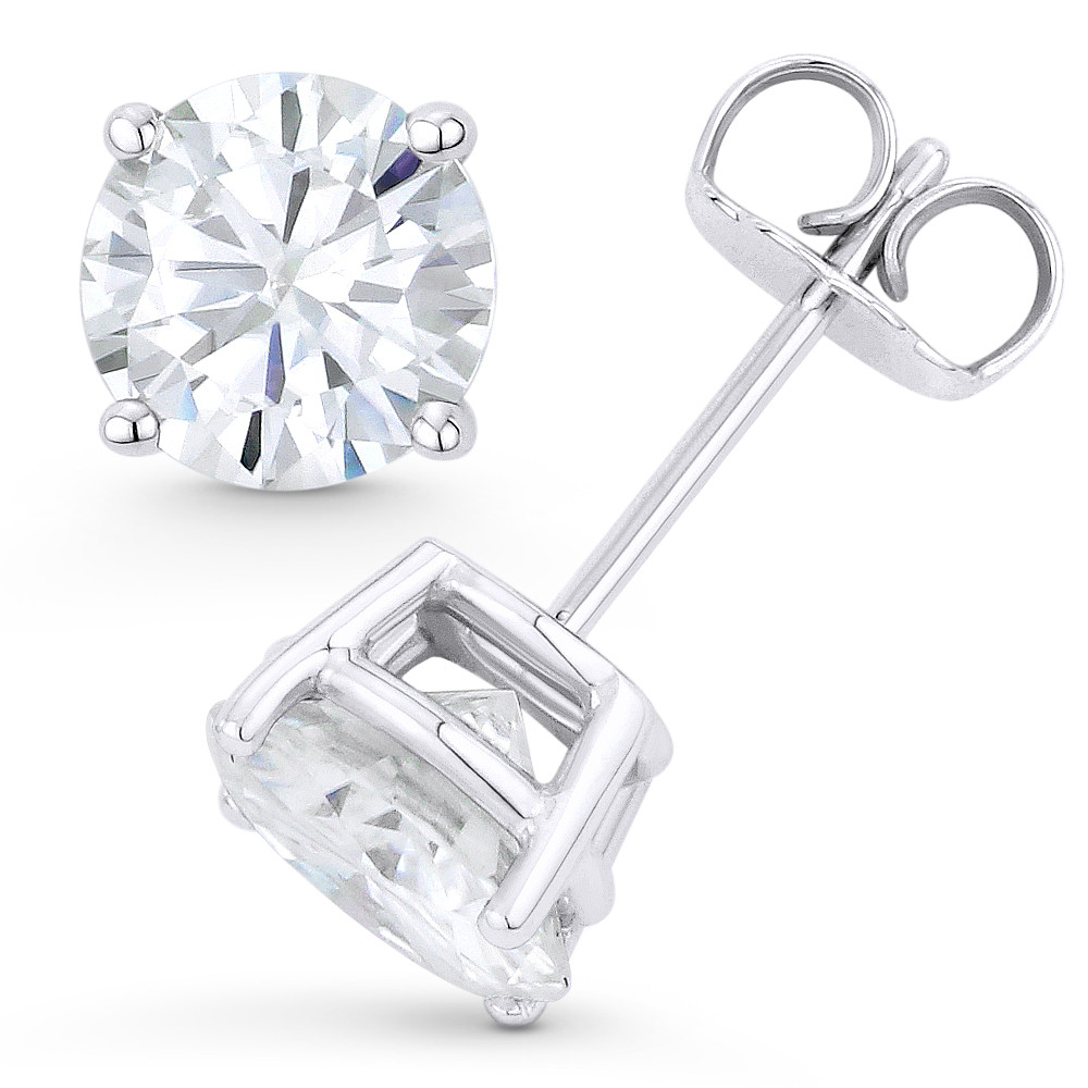 c968e49390895 Round Brilliant Cut Charles & Colvard Forever Classic® (J-K) 4-Prong Basket  Pushback Stud Earrings in 14k White Gold - ES001-MS-PB-14W