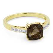 1.40ct Cushion Cut Smoky Topaz & Round Cut Diamond Engagement / Promise Ring in 14k Yellow Gold