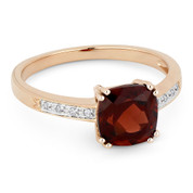 1.59ct Cushion Cut Garnet & Round Cut Diamond Engagement / Promise Ring in 14k Rose Gold