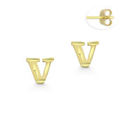 "Initial Letter ""V"" Stud Earrings with Push-Back Posts in 14k Yellow Gold - BD-ES051V-14Y"