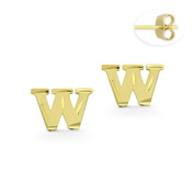 "Initial Letter ""W"" Stud Earrings with Push-Back Posts in 14k Yellow Gold - BD-ES051W-14Y"