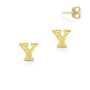"Initial Letter ""Y"" Stud Earrings with Push-Back Posts in 14k Yellow Gold - BD-ES051Y-14Y"