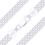 6mm (Gauge 050 4F) 2-Row Bismark / Bizmark Link Italian Chain Necklace in .925 Sterling Silver - CLN-BISM2-050_4F-SLP