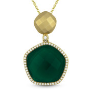 7.53ct Green Agate & Diamond Halo Pendant & Chain Necklace in 14k Yellow Gold - AM-DN4132