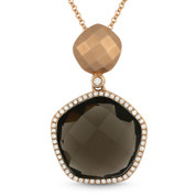 8.24ct Smoky Topaz & Diamond Halo Pendant & Chain Necklace in 14k Rose Gold - AM-DN4133