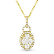 0.67ct Round Cut Diamond Pave Pendant & Chain Necklace in 18k Yellow Gold w/ 14k Chain - AM-DN4613