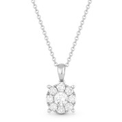 0.52ct Round Cut Diamond Pave Pendant & Chain Necklace in 14k White Gold - AM-DN5873