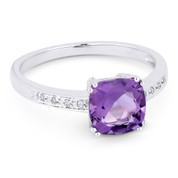 1.42ct Cushion Cut Amethyst & Round Cut Diamond Engagement / Promise Ring in 14k White Gold