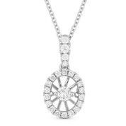 0.25ct Floating Round Brilliant Cut Diamond & Halo Pendant & Chain Necklace in 14k White Gold - AM-DN4637