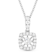 0.30ct Floating Round Brilliant Cut Diamond & Halo Pendant & Chain Necklace in 14k White Gold - AM-DN4639