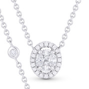 0.41ct Marquise, Princess, & Round Cut Diamond Pave Pendant & Chain Necklace in 18k White Gold - AM-DN3175