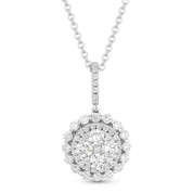 0.95ct Round Cut Diamond Cluster Halo Pendant & Chain Necklace in 14k White Gold - AM-DN4022