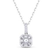 0.53ct Asscher, Baguette, & Round Cut Diamond Pave Pendant in 18k White Gold w/ 14k Chain - AM-DN5040
