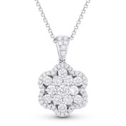 1.00ct Round Cut Diamond Pave Flower Pendant in 18k White Gold & 14k Chain Necklace - AM-DN5785
