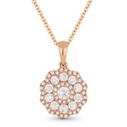 0.68ct Round Brilliant Cut Diamond Flower Pendant & Chain Necklace in 14k Rose Gold - AM-DN4668