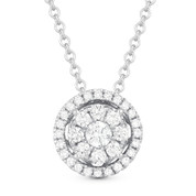 0.19ct Round Cut Diamond Cluster Halo Pendant & Chain Necklace in 14k White Gold - AM-DN4665