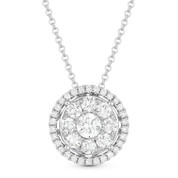 0.88ct Round Cut Diamond Cluster Halo Pendant & Chain Necklace in 14k White Gold - AM-DN4666
