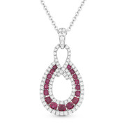 0.87ct Ruby & Diamond Pave Tear-Drop Pendant & Chain in 14k White Gold - AM-DN4579