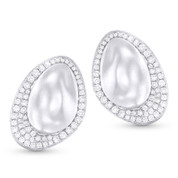 0.40ct Round Cut Diamond Pave Stud Earrings in 14k White Gold - AM-DE10897