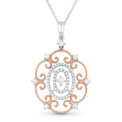 0.36ct Round Cut Diamond Vintage-Style Pendant & Chain in 14k Rose & White Gold - AM-DN4598