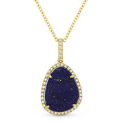 3.59ct Blue Lapis & Diamond Halo Pendant & Chain Necklace in 14k Yellow Gold - AM-DN4640