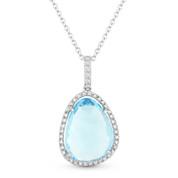 5.00ct Blue Topaz & Diamond Halo Pendant & Chain Necklace in 14k White Gold - AM-DN4650