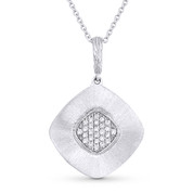 0.14ct Round Cut Diamond Pave Pendant & Cable Chain in 14k White Gold - AM-DN5758