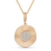 0.07ct Round Cut Diamond Circle Pendant & Cable Chain in 14k Rose & White Gold - AM-DN3868