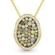 1.25ct Fancy & White Diamond Pave Pendant & Chain in 2-Tone 14k Yellow & Black Gold - AM-DN5843