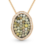 1.24ct Fancy & White Diamond Pave Pendant & Chain in 2-Tone 14k Rose & Black Gold - AM-DN5844