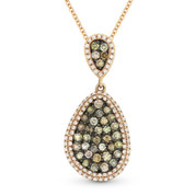 0.93ct Fancy & White Diamond Pave Pendant & Chain in 2-Tone 14k Rose & Black Gold - AM-DN4295