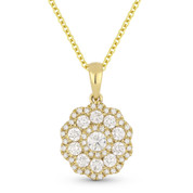 0.69ct Round Brilliant Cut Diamond Flower Pendant & Chain Necklace in 14k Yellow Gold - AM-DN4663