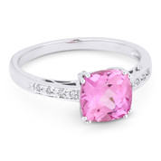 2.22ct Cushion Cut Lab-Created Pink Sapphire & Round Cut Diamond Engagement / Promise Ring in 14k White Gold