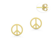 Flat 6.5mm Round Peace Sign Charm Stud Earrings with Push-Back Posts in 14k Yellow Gold - BD-ES028-14Y