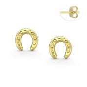 7mm Horseshoe Luck Charm Stud Earrings with Push-Back Posts in 14k Yellow Gold - BD-ES029-14Y