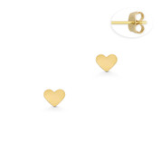 D-Cut Pave /& Ribbed Heart Stud 8x8mm Earrings Matte 14k Yellow Gold Charm Studs