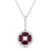 0.40ct Round Cut Ruby & Diamond Flower Pendant in 18k White Gold w/ 14k Chain Necklace - AM-DN4702