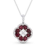 2.01ct Pear-Shape Ruby & Diamond Flower Pendant in 18k White Gold w/ 14k Chain Necklace - AM-DN4703