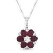 2.10ct Oval Cut Ruby & Round Cut Diamond Flower Pendant in 18k White Gold w/ 14k Chain - AM-DN4704