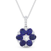 2.29ct Oval Cut Sapphire & Round Cut Diamond Flower Pendant in 18k White Gold w/ 14k Chain - AM-DN4759
