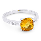 1.37ct Cushion Cut Citrine & Round Cut Diamond Engagement / Promise Ring in 14k White Gold