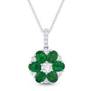 1.72ct Oval Cut Emerald & Round Cut Diamond Flower Pendant in 18k White Gold w/ 14k Chain - AM-DN4847