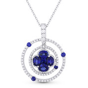 1.29ct Sapphire & Diamond Circle & Flower Pendant in 18k White Gold w/ 14k Chain Necklace - AM-DN4275
