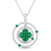 0.99ct Emerald & Diamond Circle & Flower Pendant in 18k White Gold w/ 14k Chain Necklace - AM-DN4762