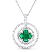 1.01ct Emerald & Diamond Circle & Flower Pendant in 18k White Gold w/ 14k Chain Necklace - AM-DN4762D