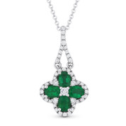 0.92ct Oval Cut Emerald & Diamond Flower Pendant & Chain Necklace in 14k White Gold - AM-DN4024